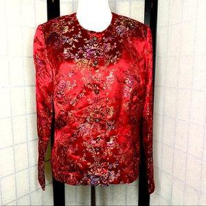 Sheri Martin red floral oriental inspired  jacket.